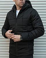 Мужская куртка с капюшоном зимняя черная