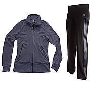 Костюм спортивный  эластан. Серая кофта, брюки черные, лампас серый.Мод. 165.