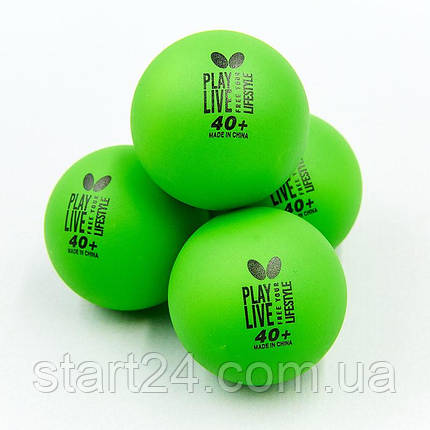 Набор мячей для настольного тенниса 6 штук BUTTERFLY 85215 FREE YOUR LIFESTYLE (пластик, d-40мм, салатовый), фото 2