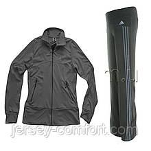 Костюм спортивный  эластан. Серая кофта, брюки серые, лампас серый.Мод. 165.