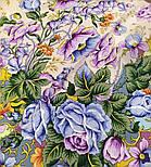 Россияночка 1740-15, павлопосадский платок (крепдешин) шелковый с подрубкой, фото 6