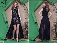 Длинное нарядное женское платье шифон декорировано бусинками 42-46 размеров, 4 цвета