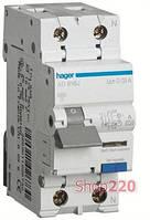 Диференційний автоматичний вимикач 32A, 30 мA, уставка B, тип A, 6 кА, Hager AD932J