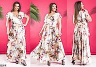 Платье женское летнее на запах длинное софт 48-58 размеров, 3 цвета