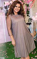 Платье женское весеннее трикотаж+шифон 48-58 размеров, 3 цвета