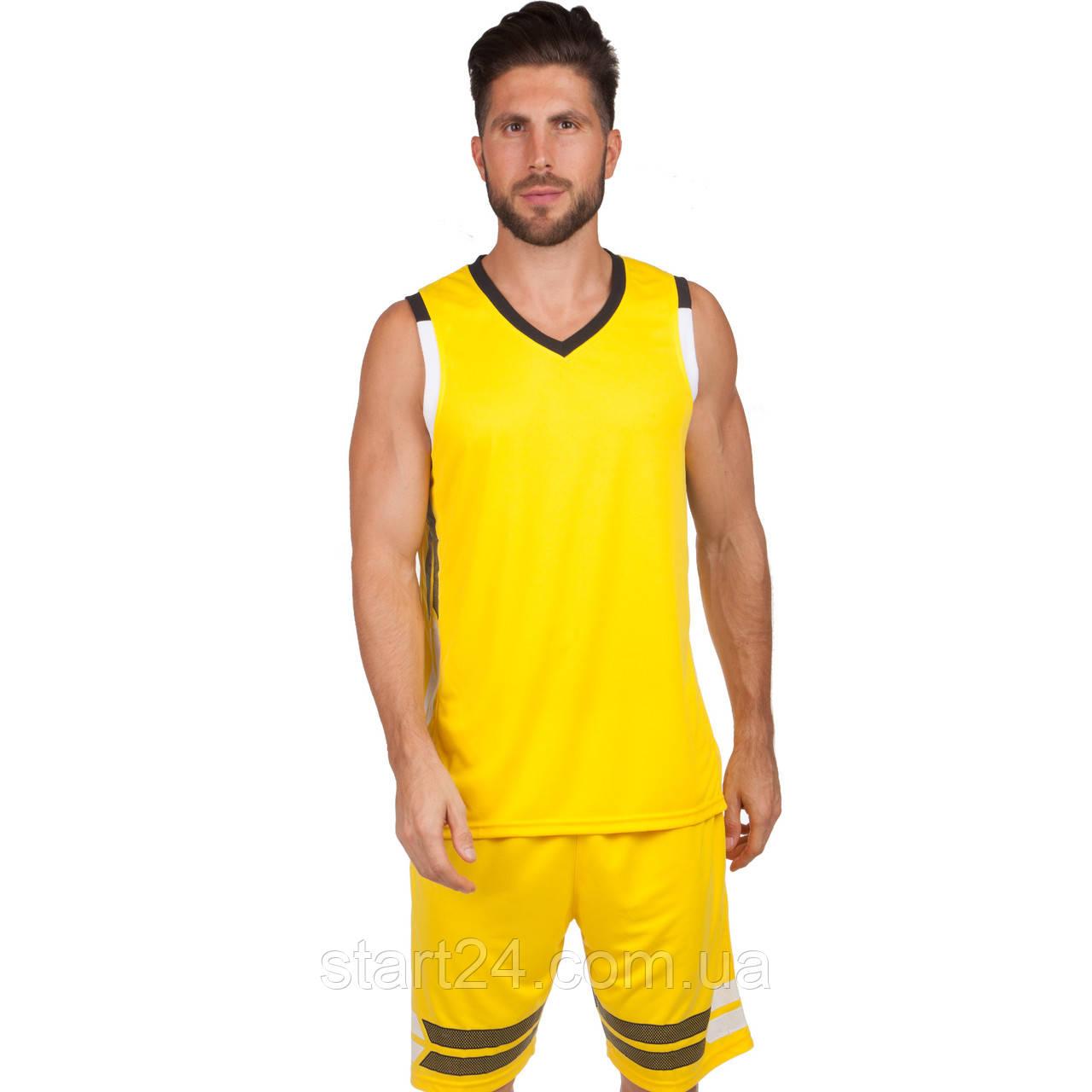 Форма баскетбольна чоловіча LD-8019-2 (PL, р-р L-5XL 160-190, жовтий)