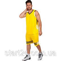 Форма баскетбольна чоловіча LD-8019-2 (PL, р-р L-5XL 160-190, жовтий), фото 3