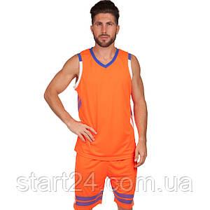 Форма баскетбольная мужская LD-8019-5 (PL, р-р L-5XL 160-190, оранжевый)