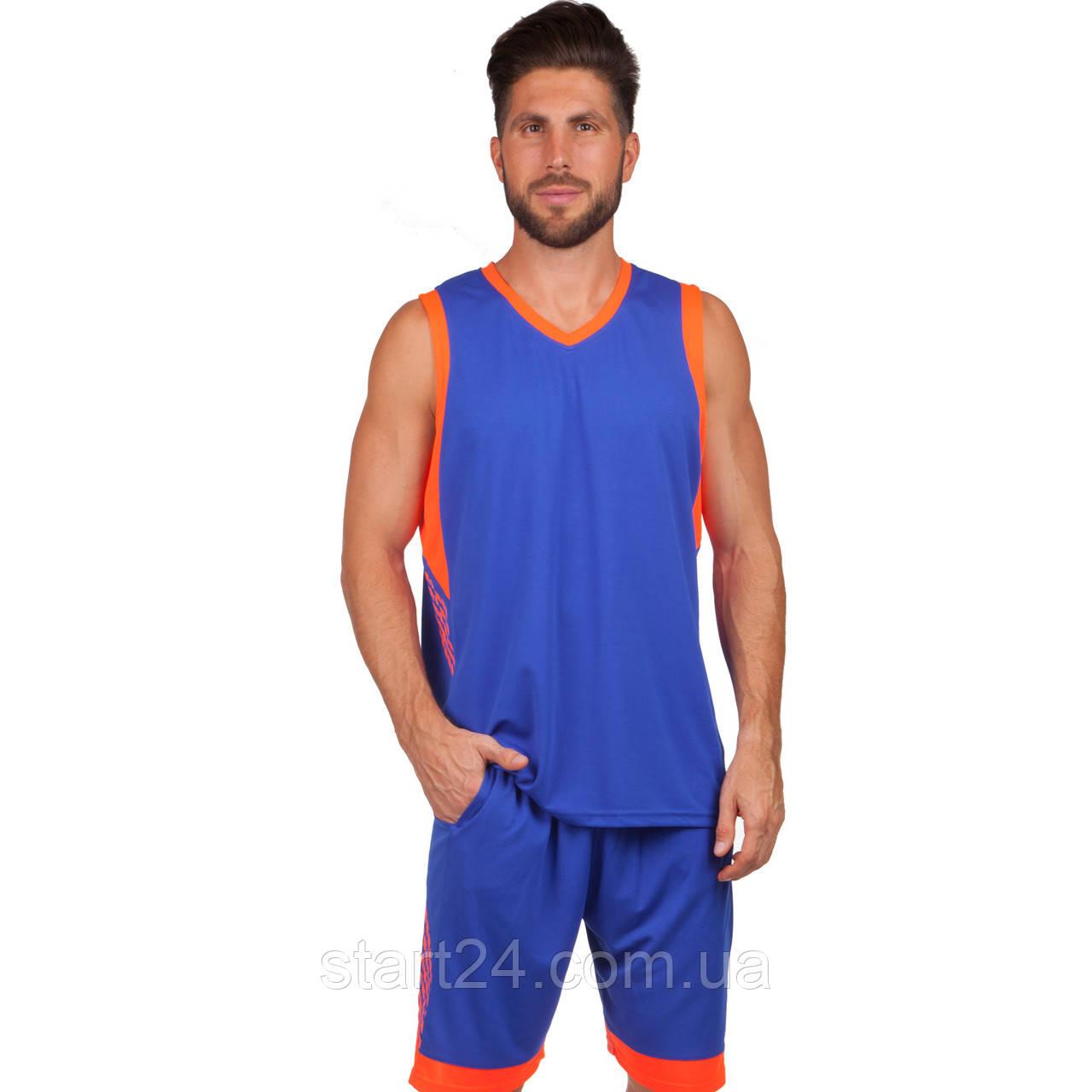 Форма баскетбольна чоловіча LD-8017-4 (PL, р-р L-5XL 160-190, синій-оранжевий)