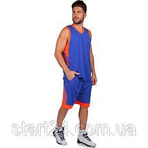 Форма баскетбольна чоловіча LD-8017-4 (PL, р-р L-5XL 160-190, синій-оранжевий), фото 3