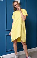 Ассиметричное платье-туника летнее женское коттон 42-48 размеров, 4 цвета