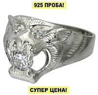 """Серебряный перстень с фианитом """"Оскал Тигра"""", фото 1"""