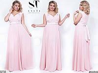 Длинное вечернее нарядное платье шифон размер 48-52 универсальный, 7 цветов