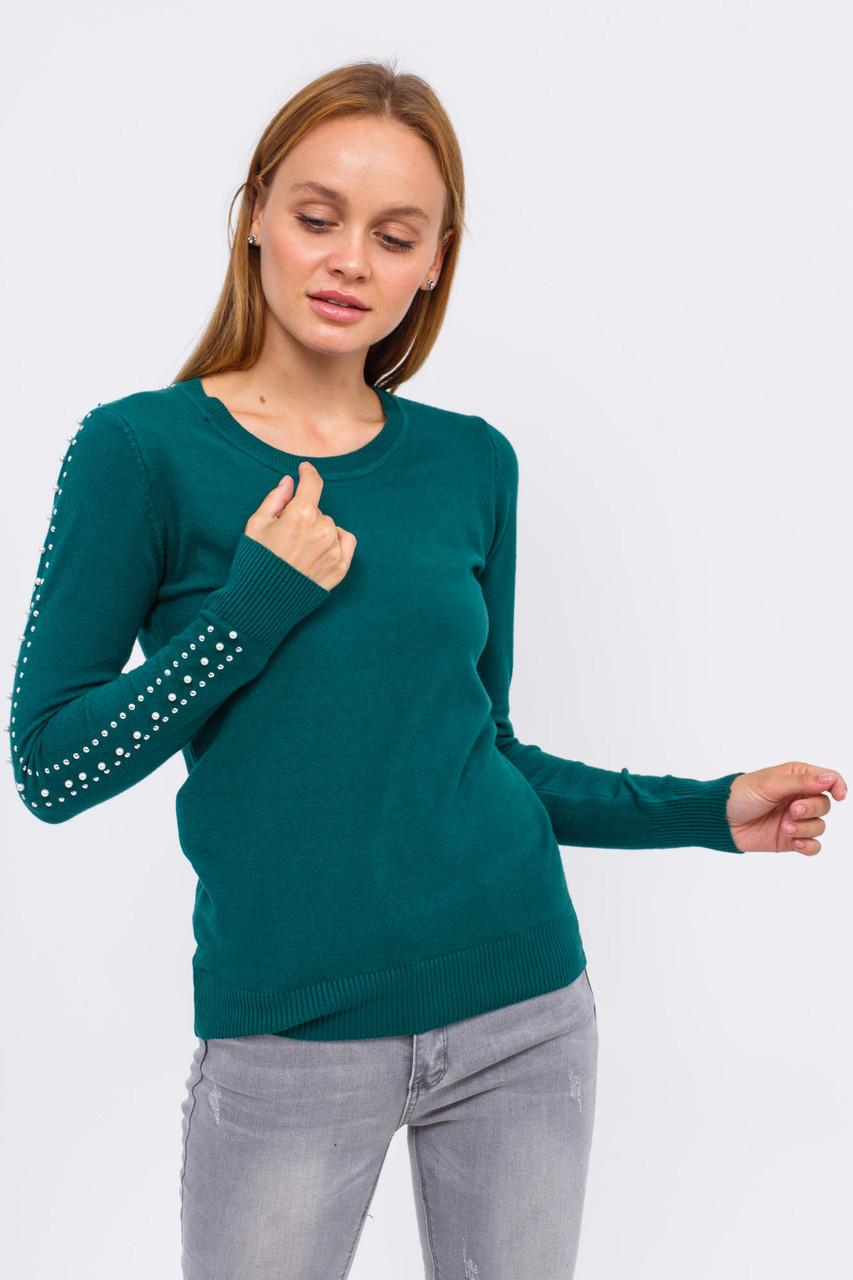 Джемпер с бусинами в виде лампас LUREX - зеленый цвет, S (есть размеры)
