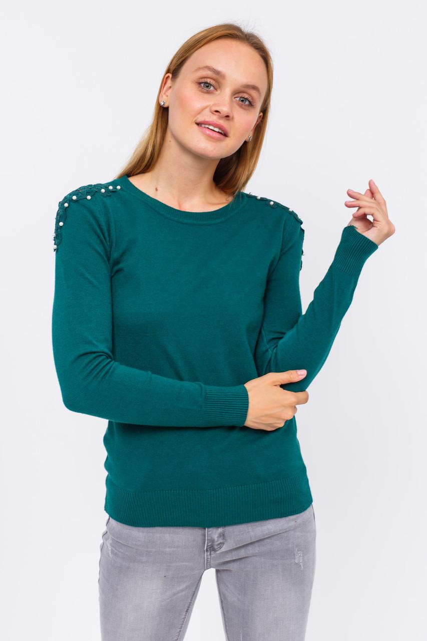 Джемпер с изящным кружевом и бусинами на плечах LUREX - зеленый цвет, L (есть размеры)