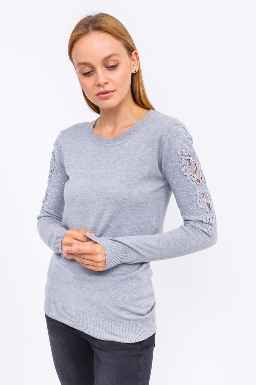 Джемпер с кружевом и блестящими мелкими заклепками на рукавах LUREX - серый цвет, L (есть размеры)