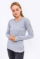 Джемпер с кружевом и блестящими мелкими заклепками на рукавах LUREX - серый цвет, L (есть размеры), фото 1