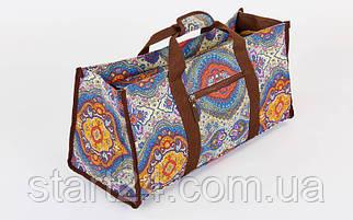 Сумка для фитнеса и йоги Yoga bag DoYourYoga FI-6971-1 (размер 22х24х54см, полиэстер, хлопок, серый-синий-оранжевый)