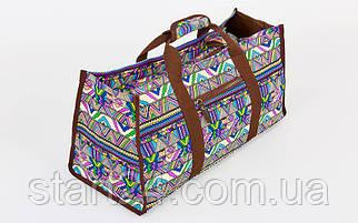 Сумка для фитнеса и йоги Yoga bag DoYourYoga FI-6971-2 (размер 22х24х54см, полиэстер, хлопок, бежевый-синий-фиолетовый)