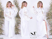 Халат красивый женский домашний шелковый размер 50-56 универсальный, 3 цвета