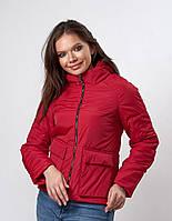 Красная утепленная женская куртка (к-144)