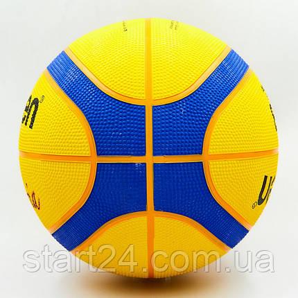 Мяч баскетбольный резиновый №7 MOLTEN B33T2000  3X3 (резина, бутил, желтый-синий), фото 2