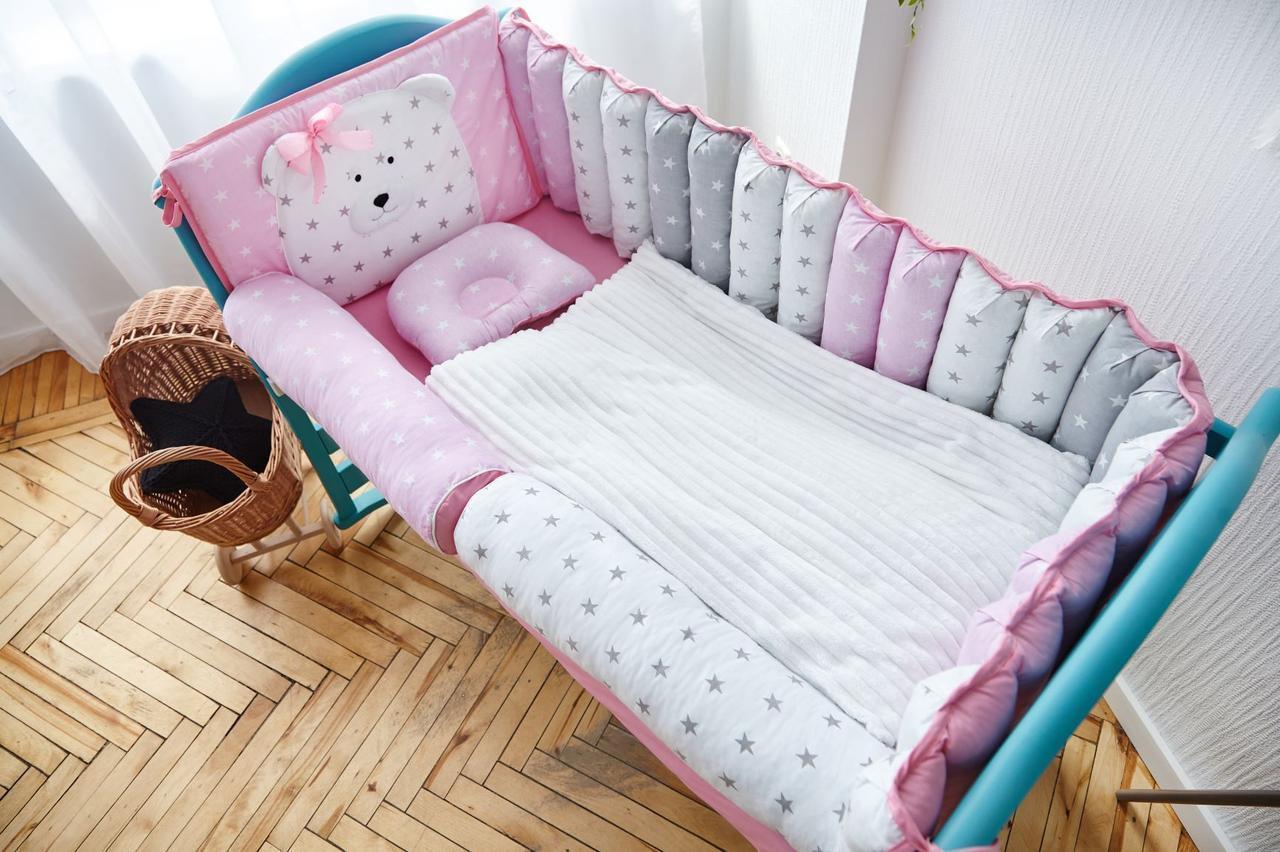 Набор постельного белья с бортиками  для новорожденных Мишка розовый