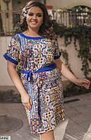 Платье женское асимметричное летнее легкое штапель больших размеров 52-62