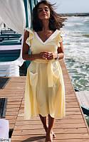 Легкое летнее платье софт+кружево 42-48 размеров, 5 цветов
