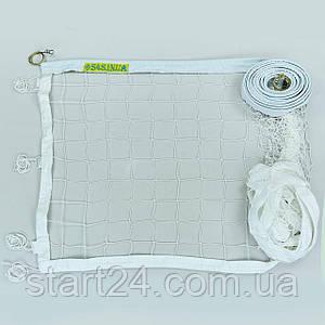 Сетка для волейбола Эконом10 Норма NEW SO-0945 (синтетический шнур 2,5мм, р-р 9,5x1м, ячейка 10x10см, шнур натяжения, белый)