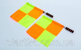 Комплект судейских флагов (футбольного арбитра) 2шт C-4949 (полиэстер, PL чехол)