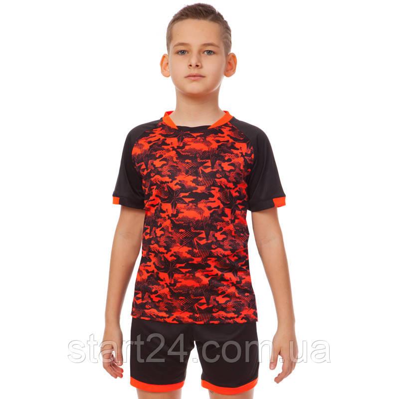 Футбольная форма подростковая LD-5021T-BK (PL, р-р 26-32, рост 125-155, черный-оранжевый)