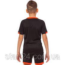 Футбольная форма подростковая LD-5021T-BK (PL, р-р 26-32, рост 125-155, черный-оранжевый), фото 2