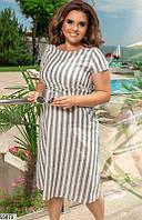 Льняное летнее легкое платье с завышенной талией 48-58 размеров, 3 цвета