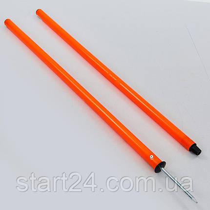 Шест для слалома тренировочный 2 сложения C-0820 (пластик, метал. штык для крепления в грунт, 160x2см, цвета в ассортименте), фото 2
