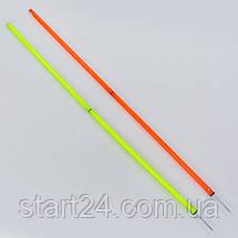 Шест для слалома тренировочный 2 сложения C-0820 (пластик, метал. штык для крепления в грунт, 160x2см, цвета в ассортименте), фото 3