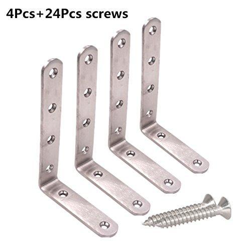 Угловые кронштейны (5 шт), 125 * 75 мм Угловые кронштейны на 90 градусов Угловые скобкиНержавеющие кронштейны