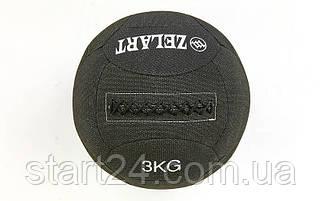Мяч для кроссфита набивной в кевларовой оболочке 3кг Zelart WALL BALL FI-7224-3 (кевлар, наполнитель-метал. гранулы, d-35см, черный)
