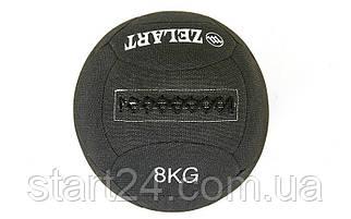 Мяч для кроссфита набивной в кевларовой оболочке 8кг Zelart WALL BALL FI-7224-8 (кевлар, наполнитель-метал. гранулы, d-35см, черный)