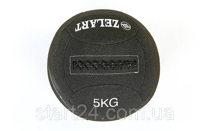 Мяч для кроссфита набивной в кевларовой оболочке 5кг Zelart WALL BALL FI-7224-5 (кевлар, наполнитель-метал. гранулы, d-35см, черный)