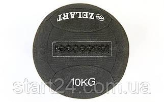 Мяч для кроссфита набивной в кевларовой оболочке 10кг Zelart WALL BALL FI-7224-10 (кевлар, наполнитель-метал. гранулы, d-35см, черный)