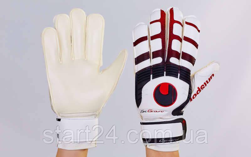 Перчатки вратарские с защитными вставками на пальцы FB-842-4 UHLSPORT (PVC, р-р 8-9, чер-крас-бел)