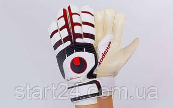 Перчатки вратарские с защитными вставками на пальцы FB-842-4 UHLSPORT (PVC, р-р 8-9, чер-крас-бел), фото 2