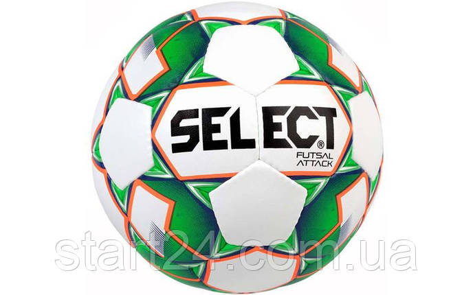 Мяч футзальный №4 SELECT FUTSAL ATTACK (FPUG 1100, белый-зеленый-оранжевый), фото 2