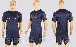 Форма футбольного судьи CO-1270-BK (полиэстер, р-р L-2XL, черный, шорты черные)