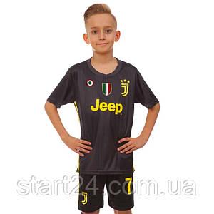 Форма футбольная детская JUVENTUS RONALDO 7 гостевая 2019 SP-Planeta CO-8027 (р-р 20-28-6-14лет, 110-155см, черный-желтый)