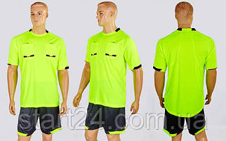 Форма футбольного судьи CO-1270-LG (полиэстер, р-р L-2XL, салатовый, шорты черные)