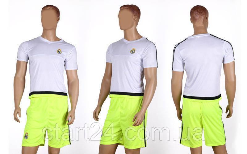 Форма футбольная детская REAL MADRID Sport CO-3900-RMAD-2  (PL, р-р S-XL, рост 125-165см, белый-салатовый)