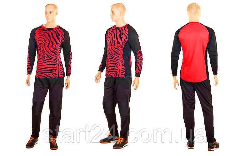 Форма футбольного вратаря юниорская CO-0233-R (PL, р-р S-M-42-46(28-30), красный-черный)