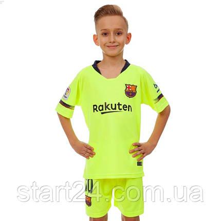 Форма футбольная детская BARCELONA MESSI 10 гостевая 2019 SP-Planeta CO-7294 (р-р 20-30 6-16лет, 110-155см, салатовый-синий), фото 2